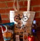 Custom Bicycle Tote with Healty Snacks